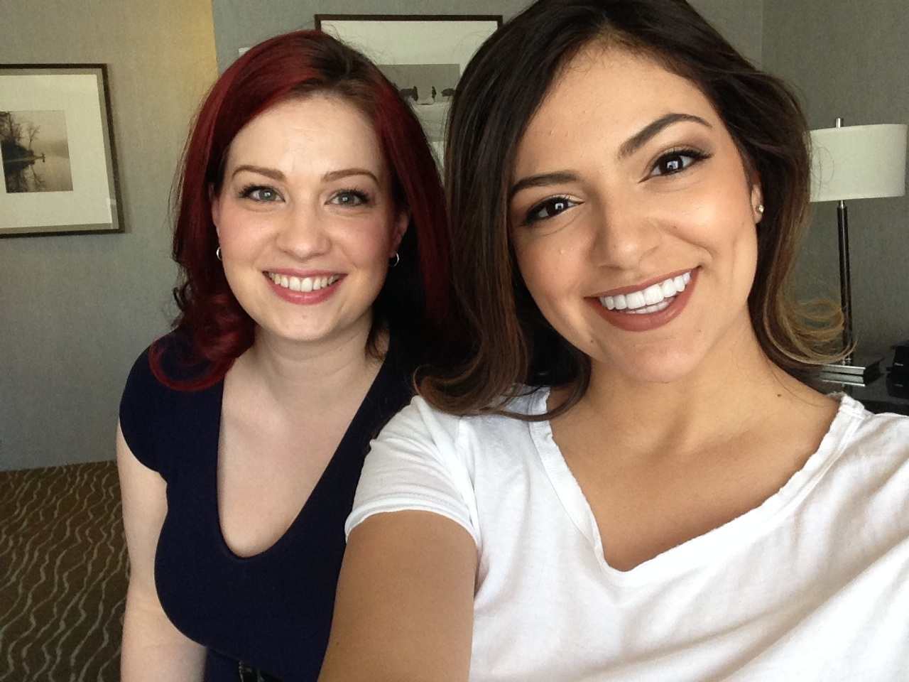 Hair and Makeup artist Kristen of The Beauty Team and Bethany Mota press ready!